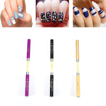 2017 Fashion Nail Art Design Pen Dotting Painting Drawing Tools Double Brushes Combination With Crystal