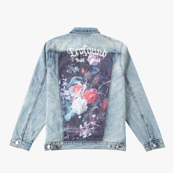 Printed Floral Patch Denim Jacket
