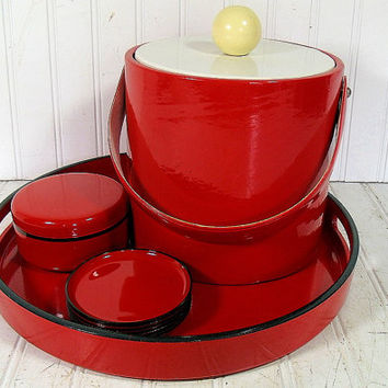 Retro Ruby Red Patent Leather Ice Bucket with Red & Black Lacquer Cocktail Tray and Coasters - Vintage 11 Piece BarWare Entertaining Set