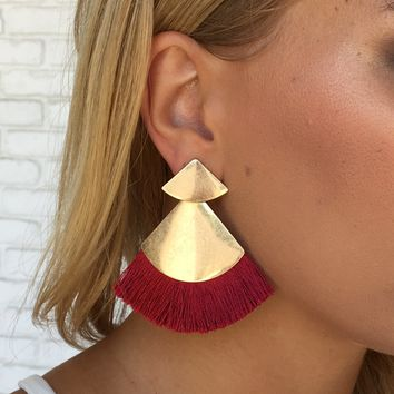 Elia Fringe Earrings in Burgundy
