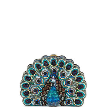 Judith Leiber Couture Peacock Crystal Minaudiere, Multicolor