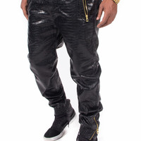 Alligator Crocodile Faux Leather Jogger Sweatpants with Zippers