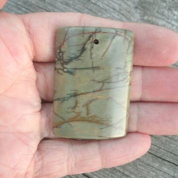 """Picasso Jasper, polished and drilled DIY pendant bead, rectangular, drilled top center front to back, unique colors, natural look, 2"""" long"""