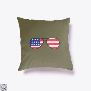 Stars And Stripes Shades, Independence Day Throw Pillow Cover