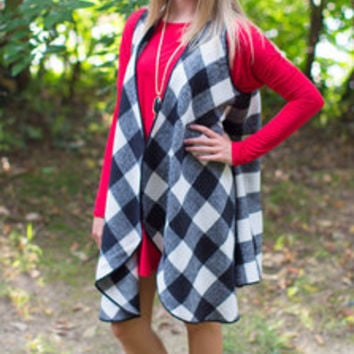 Buffalo Plaid Vest - White/Black