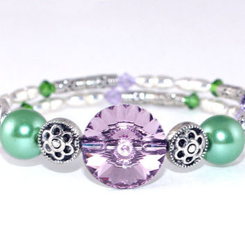 Purple amethyst green antique silver plated bead small memory wire bracelet Swarovski crystal Wrap coil bangle Green glass pearl Layer stack