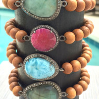 Gemstone Stretch Bracelets - Pave Diamond Connectors Sandalwood Bracelet Larimar Bracelet Labradorite Bracelet Beaded Boho Stretch Bracelets