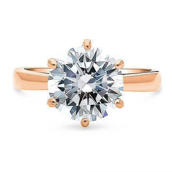 A Perfect Rose Gold 3.9CT Round Cut Solitaire Russian Lab Diamond Engagement Ring