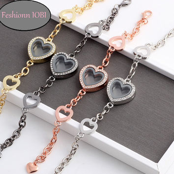 Story of My Life Heart Shaped Charm Locket Bracelet - Four Colors to Choose!
