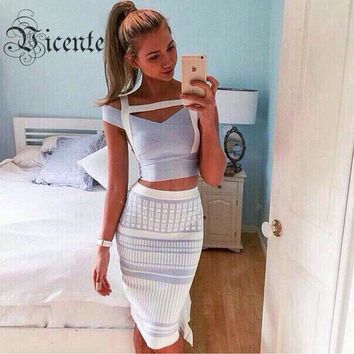 2018 New! Free Shipping!!! 2 Pieces Set Gorgeous Light Blue Off the Shoulder Grid Knitting Celebrity Party HL Bandage Dress