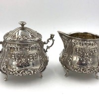 Antique 800 Silver Floral Repouse Creamer and Sugar Set Cherub handles