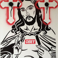 painting of jesus christ on canvas,obey,worship,god,religon,stencil & spraypaints,cross,icon,black,white,lord,urban,posca,art,drawing