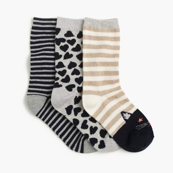 Girls' Holiday Trouser Socks Three-Pack : Girls' Tights & Socks | J.Crew
