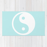 Turquoise Aqua Blue Harmony Yin Yang Rug by Beautiful Homes