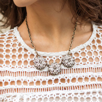 Acacia Crystal Flower Statement Necklace