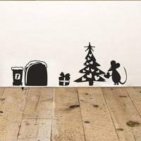 New cute cartoon mouse home sticker wall decor Mouse Hole - Children Decor Vinyl Sticker Wall Decal Christmas Decoration