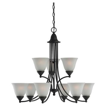Sea Gull Lighting 31577-782 Albany Nine-Light Heirloom Bronze Chandelier with Satin Etched Glass
