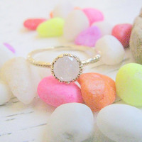 Gold druzy ring, gold ring, gold ring with white crystal, white ring, druzy crystal ring, stackable ring,  vintage ring, bridal jewelry