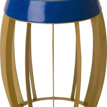 Ellis Metal Stool/Table Powedercoated Gold With A Royal Blue Ceramic Top
