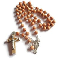 Vintage Rosary . Short Wood Beaded Rosary . Religious Cross Crucifix . Prayer Necklace .