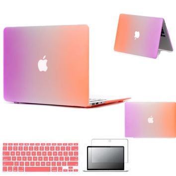 Rainbow Case For Macbook Air Pro Retina 11 12 13 15 inch Case Hard shell Laptop Bag For MacBook Keyboard Cover screen Protector