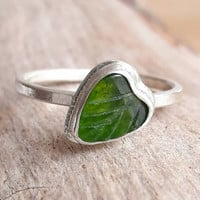Carved Green Jade and Sterling Silver Ring - Jade Ring - Jade Stack Ring - Leaf Ring - Gift For Her - Green Stone Ring - Stackable Ring