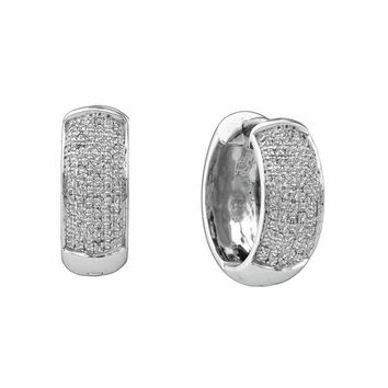 10kt White Gold Womens Round Pave-set Diamond Huggie Hoop Earrings 1/2 Cttw