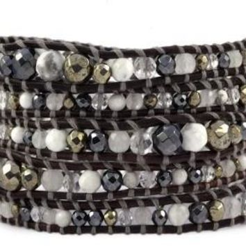 Handmade 5 Layer Leather Wrap Bracelet with graduated grey mix of hematite, Pyrites, Clear Quartz and Howlite on Sippa leather