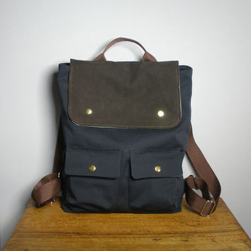 City Backpack in Black Canvas/Dark Brown Suede, School Bag, Laptop Bag, Bike Bag, New York