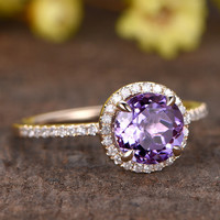 Amethyst Engagement Ring Diamond 14k Rose Gold Round Purple February Birthstone Promise Ring