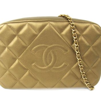 CHANEL Chain Shoulder Bag Gold Leather Quilted CC