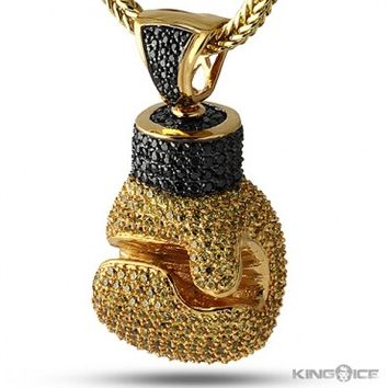 King ice iced out golden boxing glove from kingice king ice iced out golden boxing glove pendant premium pendants aloadofball Images