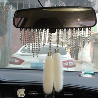 High-end DAD Car Diamante Pendant Plush Ornaments Rearview Mirror Adornment Auto Furnishing Articles Accessories