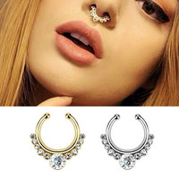 Plated Crystal Nose Septum False Fake Nose Ring