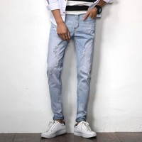 Jeans Ripped Holes Stretch Soft Permeable Men's Fashion Skinny Pants [748306137181]