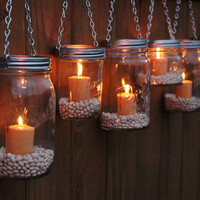 DIY Hanging Mason Jar Luminary Lantern Lids - Set of 6