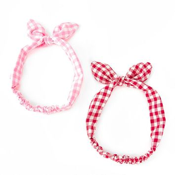 Gingham Bow Headband Set