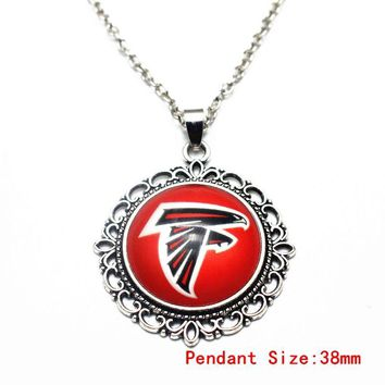 3pcs Christmas Snowflake Football Team Atlanta Falcons Glass Pendant Necklace Silver Chains Necklace For Dangle Charms Jewelry