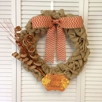 "Fall Burlap Wreath, 18"" with Natural Jute Burlap Material with Orange Chevron Bow, Give Thanks Sign, and Glitter Accessories"