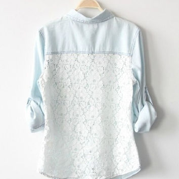 Vintage Light Blue Denim Shirt With Lace Back = 5709701505