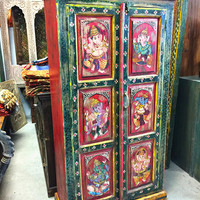 Antique Almirah Old World Vintage Armoire Indian Ganesha Painted Furniture meditation yoga