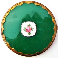 Foster Green Guilloche Enamel Duo Compact Art Deco