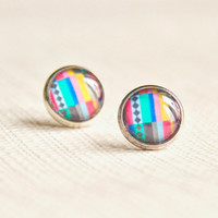 Colorful geometric ear studs - Mexican collection - Free Worldwide Shipping - Gift for her under 20 USD