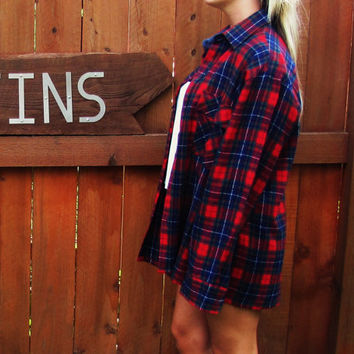 vintage red plaid flannel lumberjack oversized hipster grunge shirt