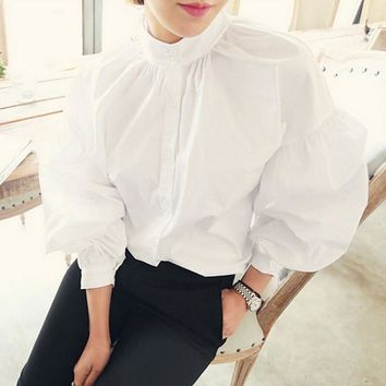 S-XL Size Retro Pleated Stand Collar Puff Loose Long White Blouse 2017 Vintage Cotton Tops Fashion Womens Lantern Sleeve Shirt