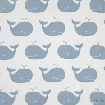 Premier Prints Fabric Whale Tales Twill White Weathered Blue Prints Fabric