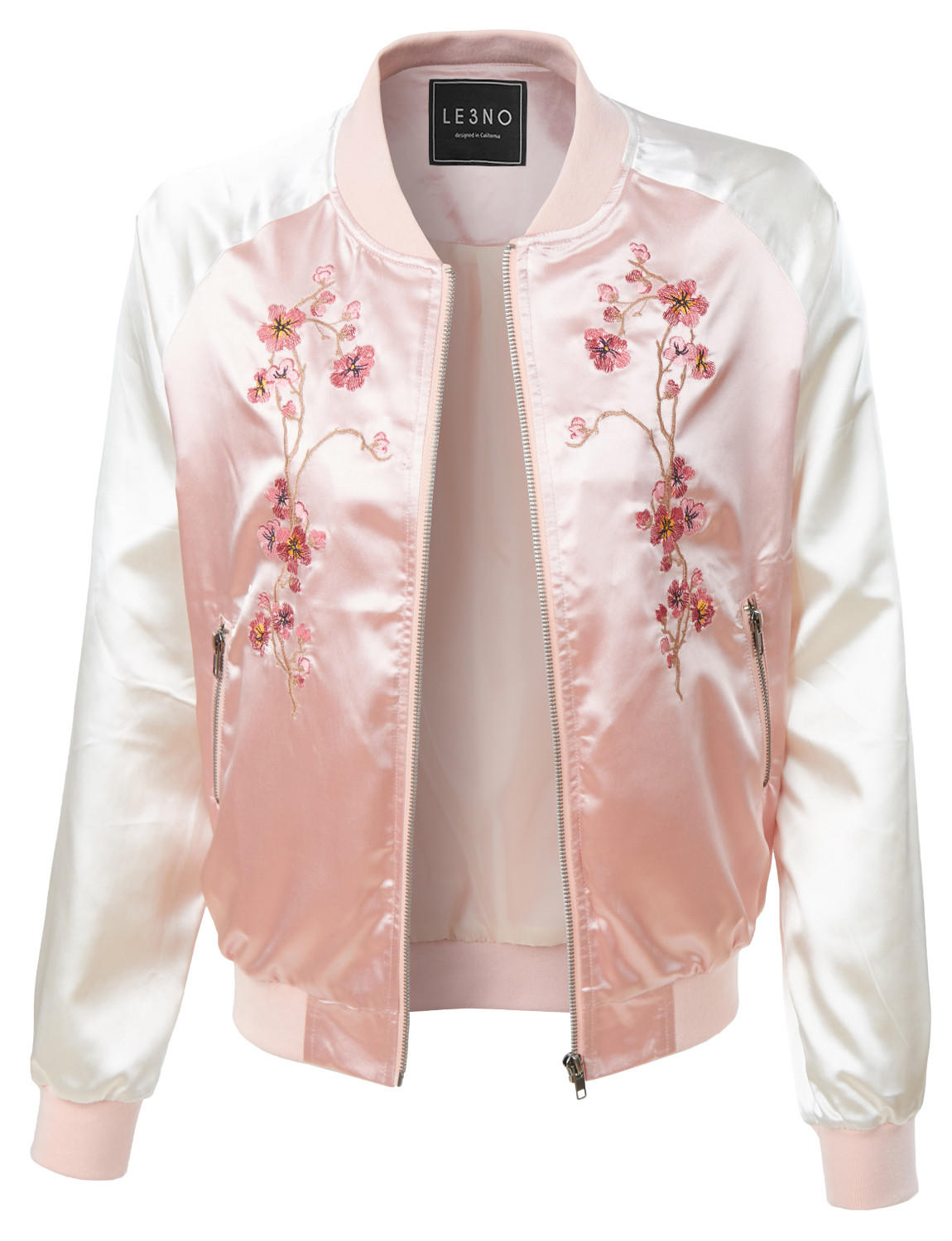 607d535ff LE3NO Womens Lightweight Satin Floral Embroidery Zip Up Bomber Jacket  (CLEARANCE)
