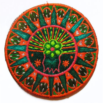 Peyote Cactus Mandala small patch Huichol Artwork