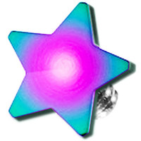 Rainbow Titanium 4mm Flat Star Dermal Top | Body Candy Body Jewelry