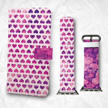 Gift Set iPhone case and Apple Watch Band 38mm 48mm Purple Heart iPhone 6S iPhone 6S Plus iPhone 5S iPhone 4S case (BBSG-032)